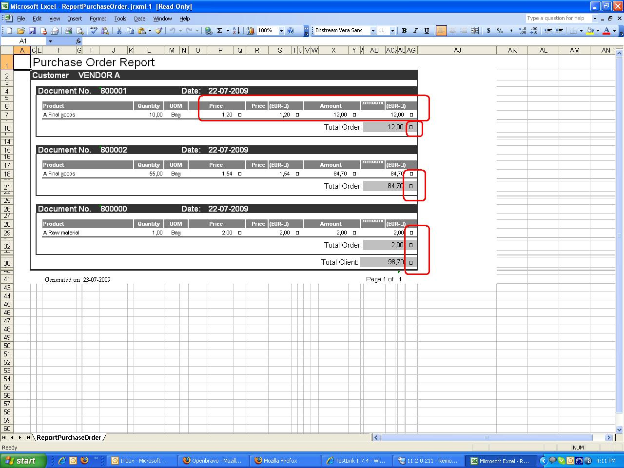 0010016 Euro Symbol Looks Strange In Purchase Order Report Excel